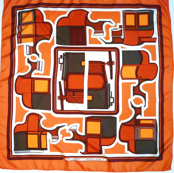 Hermes Silk Scarf Les Coupes in Hermes Orange and Brown, Françoise de la Perrière, 1971
