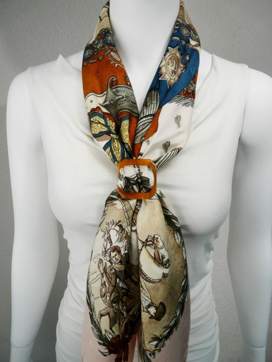 Napoleon Hermes Silk Scarf with Horn Scarf Ring Anneau Boucle