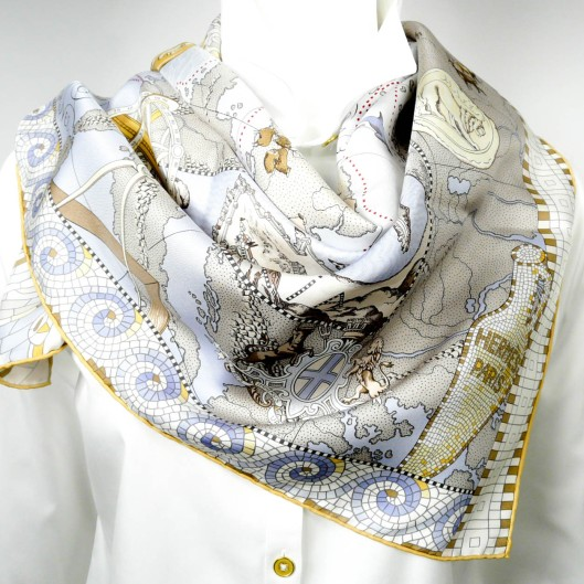 Le Voyage de Pythéas HERMES Silk Scarf by Aline Honore